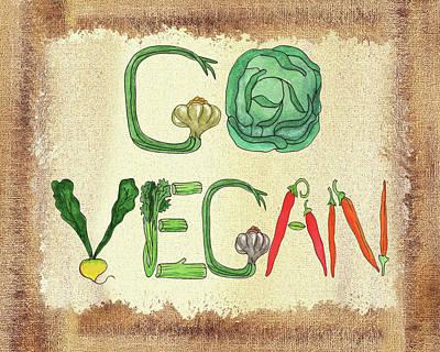 Go Vegan Watercolor Sign Poster