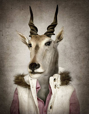 Goat In Clothes. Digital Illustration In Soft Oil Painting Style Poster by Cranach Studio