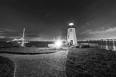 Goat Island Lighthouse Newport Ri Path Black And White Poster