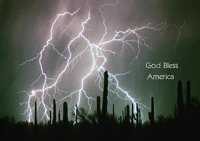 God Bless America Color Lightning Storm In The Usa Desert Poster