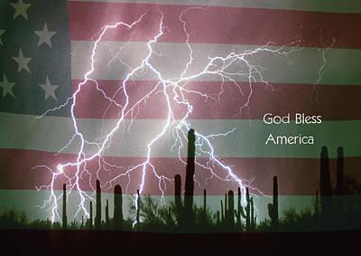 God Bless America Red White Blue Lightning Storm Poster