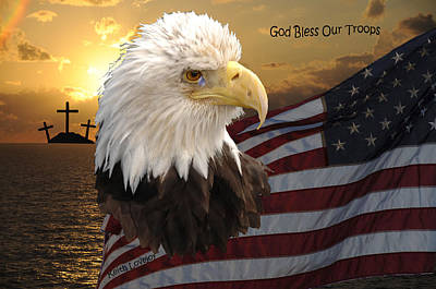 God Bless Our Troops Poster by Keith Lovejoy