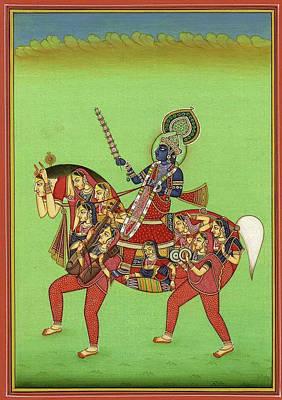 God Krishna, God Of Love And Beauty, Hindu Vedic Art, Indian Miniature Painting Watercolor Artwork Poster