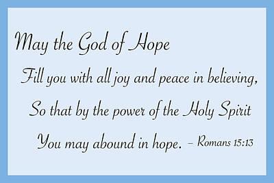 God Of Hope Poster by Greg Joens