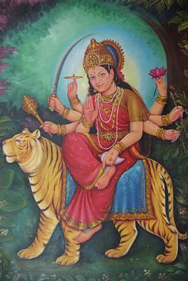 Goddess Durga, Ambe Maa, Aadishakti Painting, Goddess Of War,online Artwork, Oil Painting On Canvas. Poster by Jagannath