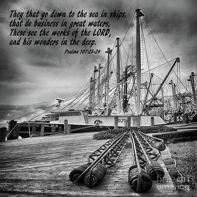 God's Wonders In The Deep In Black And White Poster by Priscilla Burgers