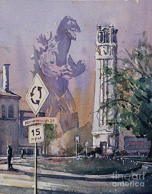 Poster featuring the painting Godzilla Smash Ncsu- Raleigh by Ryan Fox