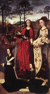 Goes Hugo Van Der Sts Margaret And Mary Magdalene With Maria Portinari Poster