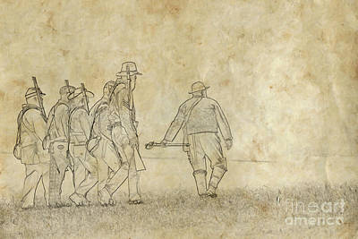 Going Into Battle Confederate Soldiers Sketch Poster