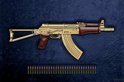 Gold A K S-74 U Assault Rifle With 5.45x39 Rounds Over Blue Velvet Poster