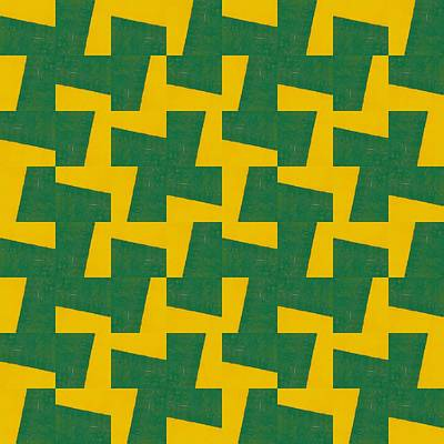 Gold And Green Pattern Study Poster by Michelle Calkins