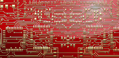 Gold Circuitry On Red Poster