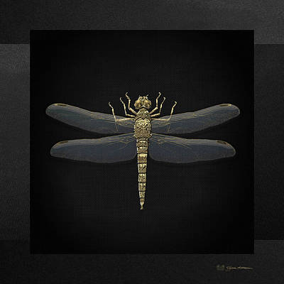 Poster featuring the digital art Gold Dragonfly On Black Canvasgold Dragonfly On Black Canvas by Serge Averbukh