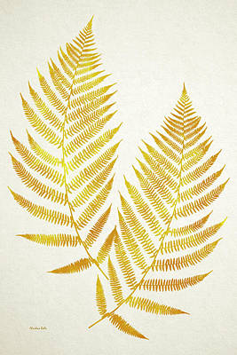 Poster featuring the mixed media Gold Fern Leaf Art by Christina Rollo