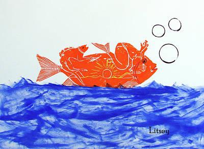 Gold Fish Poster by International Artist Brent Litsey