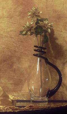 Gold Flower Vase Poster