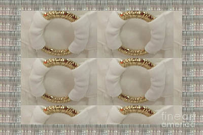 Poster featuring the photograph Gold N White Clothing Fabric Texture N Pattern Tshirts Pillows Towels Christmas Holidays Festivals  by Navin Joshi