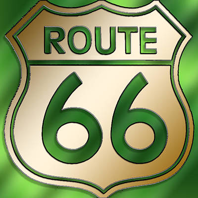 Poster featuring the digital art Gold Route 66 Sign by Chuck Staley