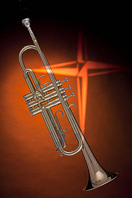 Gold Trumpet With Cross On Orange Poster by M K  Miller