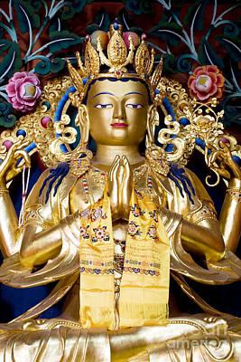 Golden Amitaba Buddha Statue Poster