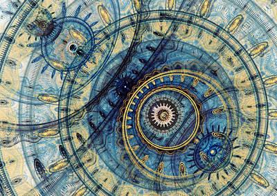 Golden And Blue Clockwork Poster