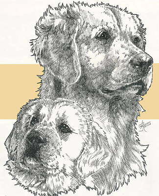 Golden And Pup Poster