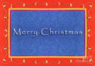 Golden Bells Christmas Frame Background In Flat Lay Poster