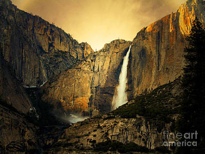 Golden Bridalveil Fall Poster by Wingsdomain Art and Photography
