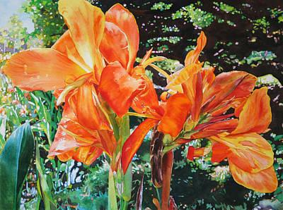 Golden Cannas Poster by Kathleen Ballard