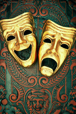 Golden Comedy And Tragedy Masks On Patterned Leather Poster by David Muir