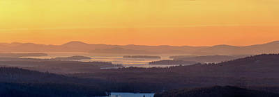 Poster featuring the photograph Golden Dawn Over Squam And Winnipesaukee by Sebastien Coursol