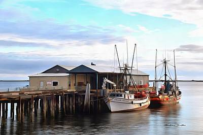 Golden Dolphin Eel Fishing Boat Port Angeles Washington Painting Poster by Barbara Snyder