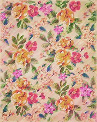 Golden Flitch Digital Vintage Retro  Glitched Pastel Flowers  Floral Design Pattern Poster by Philipp Rietz