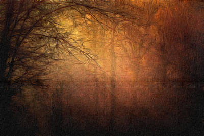 Golden Forest Sunset Landscape Art Painting Poster by Wall Art Prints