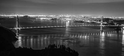Golden Gate Black And White Panoramic  Poster by John McGraw