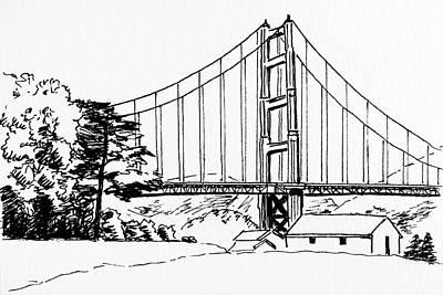Golden Gate Bridge Black-n-white Poster