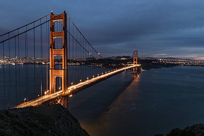 Golden Gate Bridge Blue Hour  Poster by John McGraw