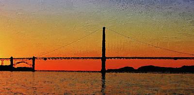 Poster featuring the digital art Golden Gate Bridge Panoramic by PixBreak Art
