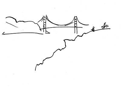 Poster featuring the drawing Golden Gate Bridge by Patrick Morgan