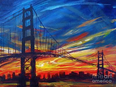 Golden Gate Bridge Sketch Poster by Vanessa Hadady BFA MA