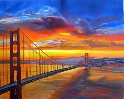 Golden Gate Bridge Sunset Poster by LaVonne Hand