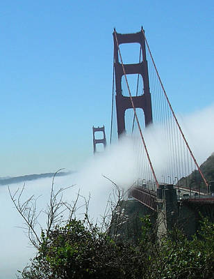 Poster featuring the photograph Golden Gate Bridge Towers In The Fog by Bonnie Muir