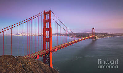 Golden Gate Bridge Twilight Poster by JR Photography