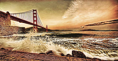 Poster featuring the photograph Golden Gate Bridge Waves by Steve Siri