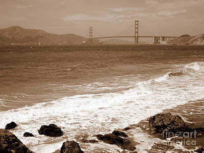 Golden Gate Bridge With Shore - Sepia Poster by Carol Groenen