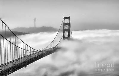 Golden Gate Bw Fog Poster by Chuck Kuhn