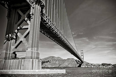 Golden Gate From The Water - Bw Poster by Darcy Michaelchuk