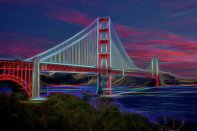 Golden Gate Neon Poster by Kelley King