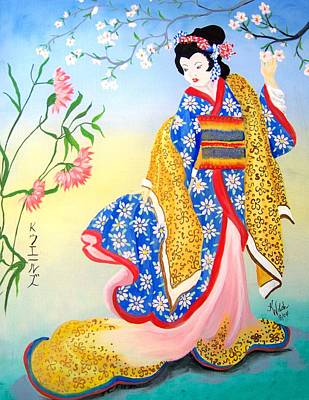 Golden Geisha Poster by Kathern Welsh