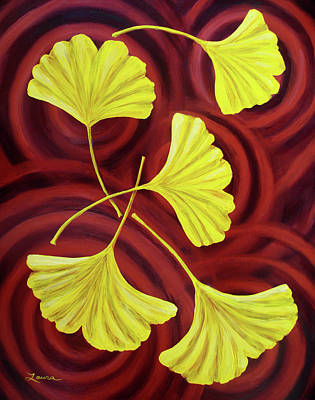 Golden Ginkgo Leaves On Burgundy Poster by Laura Iverson